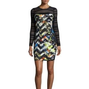 MILLY Women's Blair Zigzag Long Sleeve Dress